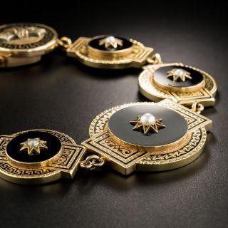 Victorian Black Enamel, Onyx and Pearl Bracelet - 3