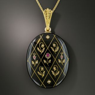 Victorian Black Enamel Ruby Pearl Locket - 2