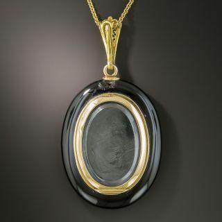 Victorian Black Enamel Ruby Pearl Locket