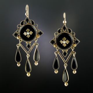 Victorian Black Glass and Seed Pearl Earrings,  - 2