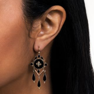 Victorian Black Glass and Seed Pearl Earrings
