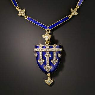 Victorian Blue Enamel and Diamond Shield Locket Necklace  - 3
