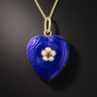 Victorian Blue Enamel, Pearl and Ruby Heart Pendant - 1