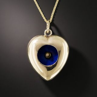 Victorian Blue Enamel, Pearl and Ruby Heart Pendant