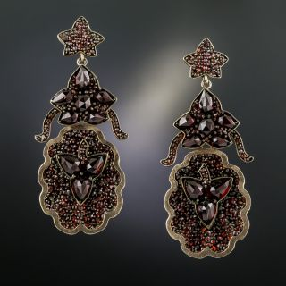 Victorian Bohemian Garnet Drop Earrings - 3