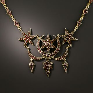 Victorian Bohemian Garnet Moon and Star Necklace - 3