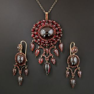 Victorian Bohemian Garnet Pendant and Earring Suite - 2