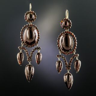 Victorian Bohemian Garnet Pendant and Earring Suite