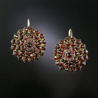 Victorian Bohemian Garnet Round Cluster Earrings - 3