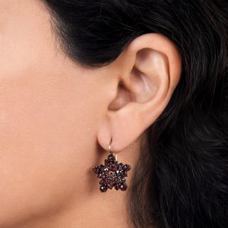 Victorian Bohemian Garnet Star Motif Earrings
