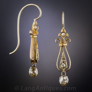 Victorian Briolette Diamond Drop Earrings