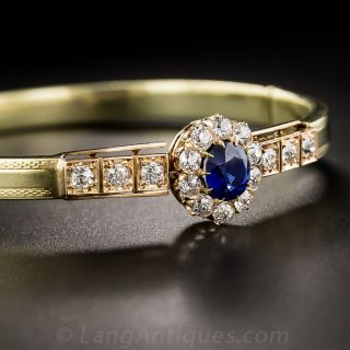 Victorian Burmese Sapphire and Diamond Bangle Bracelet - 2