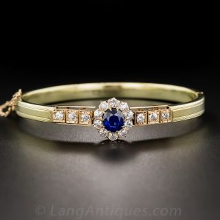 Victorian Burmese Sapphire and Diamond Bangle Bracelet