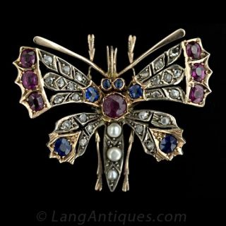 Victorian Butterfly Pin with Diamonds, Sapphires, Rubies, and Pearls - 1