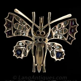 Victorian Butterfly Pin with Diamonds, Sapphires, Rubies, and Pearls