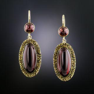 Victorian Cabochon Garnet Earrings  - 2