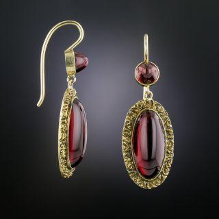Victorian Cabochon Garnet Earrings