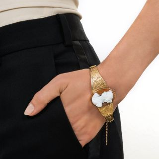 Victorian Hard Stone Cameo Bangle Bracelet