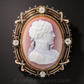 Victorian Cameo Pin with Diamonds - 1