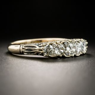 Victorian Carved Five-Stone Diamond Ring - Size 9