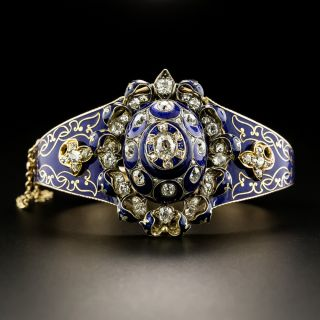 Victorian Cobalt Enamel and Diamond Bangle Bracelet - 2