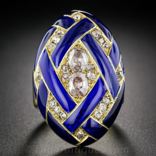 Victorian Cobalt Enamel Diamond Locket Ring  - 1