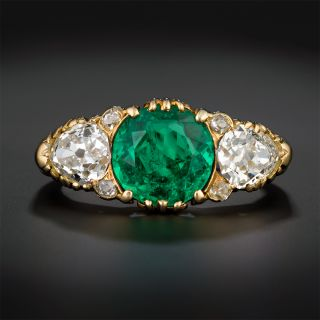 Victorian Colombian Emerald and Diamond Three-Stone Ring - 2