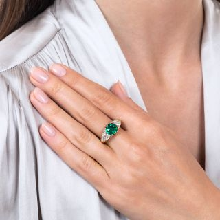 Victorian Colombian Emerald and Diamond Three-Stone Ring