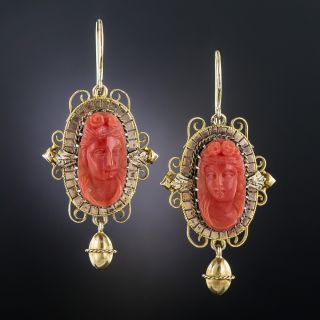 Victorian Coral Cameo Earrings - 1