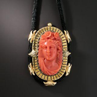 Victorian Coral Cameo Pendant Necklace - 1