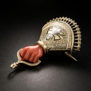 Victorian Coral Hand Brooch - 4