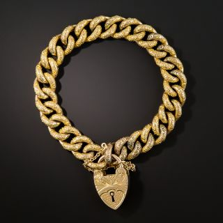 Victorian Curb Bracelet with Heart Lock - 3