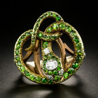 Victorian Demantoid Garnet and Diamond Snake Ring - 3