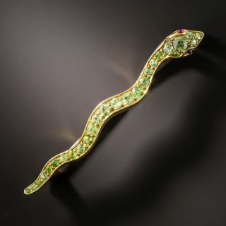 Victorian Demantoid Garnet Snake Pin - 3