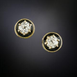 Victorian Diamond and Black Enamel Stud Earrings - 2