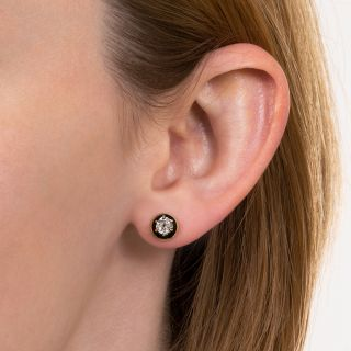 Victorian Diamond and Black Enamel Stud Earrings