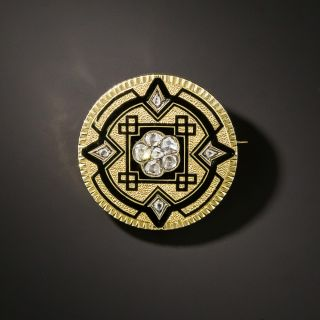 Victorian Diamond and Black Taille D'Epargne Enamel Brooch - 2
