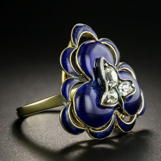 Victorian Diamond and Blue Enamel Clover Ring