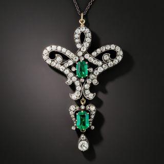 Victorian Diamond and Emerald Brooch/Pendant - 3