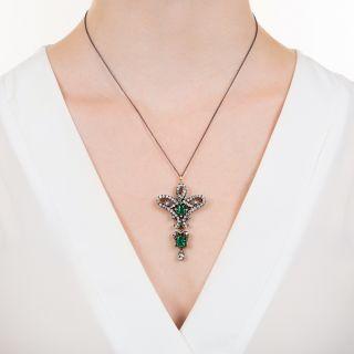 Victorian Diamond and Emerald Brooch/Pendant