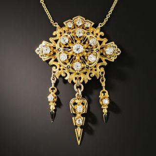 Victorian Diamond and Enamel Dangle Pendant  - 3