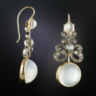 Victorian Diamond and Moonstone Drop Earrings