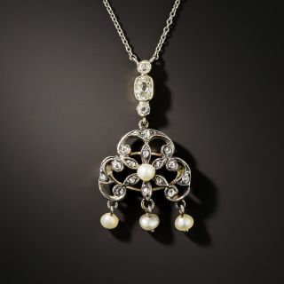 Victorian Diamond and Pearl Drop Necklace - 1