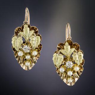 Victorian Diamond and Pearl Leaf Motif Earrings - 1
