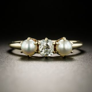 Victorian Diamond and Pearl Three-Stone Ring - 3