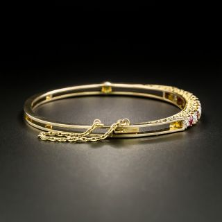 Victorian Diamond and Red Spinel Bangle Bracelet