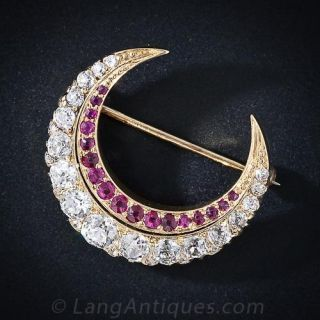 Victorian Diamond and Ruby Crescent Brooch - 1