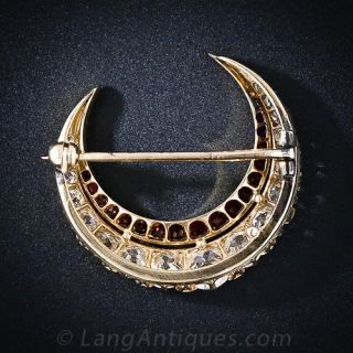 Victorian Diamond and Ruby Crescent Brooch
