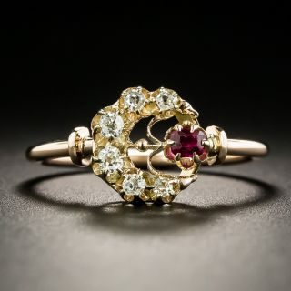 Victorian Diamond and Ruby Crescent Ring - 2