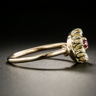Victorian Diamond and Ruby Crescent Ring
